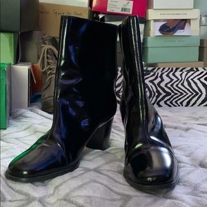 Pazzo High Shine Black Boots size 7